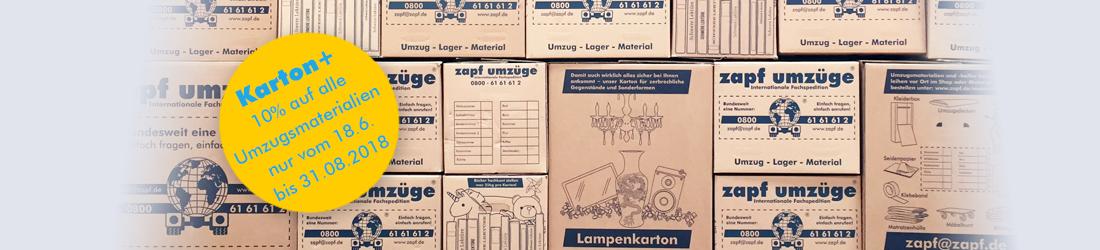 Sonderangebot auf alle Kartons und Umzugsmaterialien